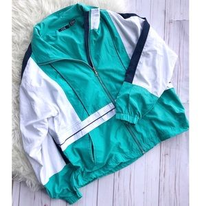 Vintage EVR blue retro windbreaker jacket